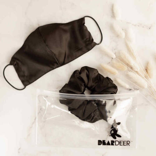 BLACK SUPER SIZED SCRUNCHIE MASK SET WHOLESALE 1