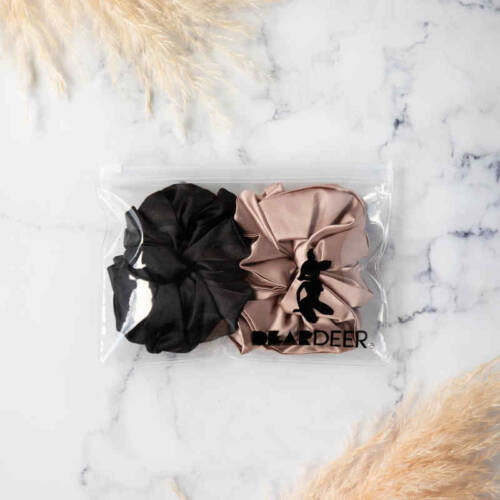 SUPER SIZED SCRUNCHIES 2PK BLACK ROSE GOLD WHOLESALE 2 1